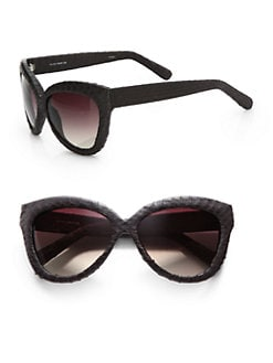 Linda Farrow Luxe - Snakeskin Covered Cat's-Eye Sunglasses