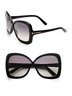 Tom Ford Eyewear - Calgary Acetate Butterfly Sunglasses/Black