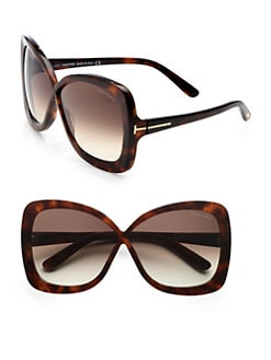 Tom Ford Eyewear - Calgary Plastic Butterfly Sunglasses/Dark Havana