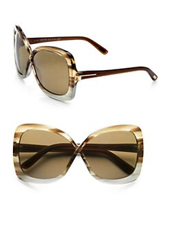 Tom Ford Eyewear - Calgary Acetate Butterfly Sunglasses/Striped Brown