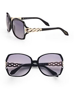 Roberto Cavalli - Paprika Metal Criss-Cross Accented Square Sunglasses/Black