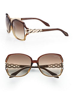 Roberto Cavalli - Paprika Metal Criss-Cross Accented Square Sunglasses/Brown