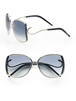 Roberto Cavalli - Amaranto Ridged Metal Sunglasses/Palladium Blue