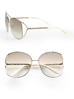 Roberto Cavalli - Girasole Square Metal Sunglasses/Rose Gold