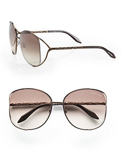 Roberto Cavalli - Girasole Square Metal Sunglasses/Brown