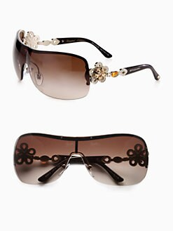 BVLGARI - Crystal Accented Metal Shield Sunglasses