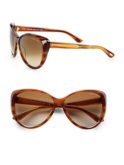 Tom Ford Eyewear - Malin Beveled Plastic Sunglasses/Brown