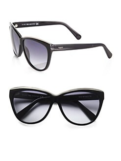 Tod's - Metal Rim Classic Cat's-Eye Sunglasses/Black