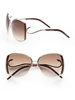 Roberto Cavalli - Amaranto Ridged Metal Sunglasses/Rose Gold