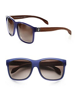 Alexander McQueen - Wood Accented Plastic Rectangular Sunglasses