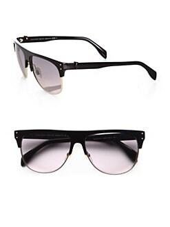 Alexander McQueen - Retro Wayfarer Round Metal Sunglasses