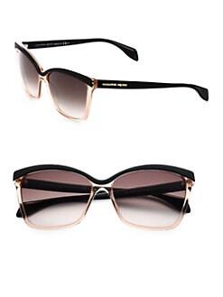 Alexander McQueen - Bold-Brow Rectangle Sunglasses