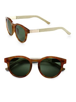 The Row - Round Leather & Acetate Sunglasses