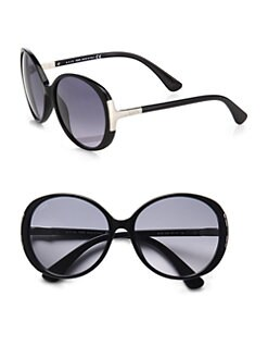 Tod's - Oversized Round Plastic Sunglasses/Black