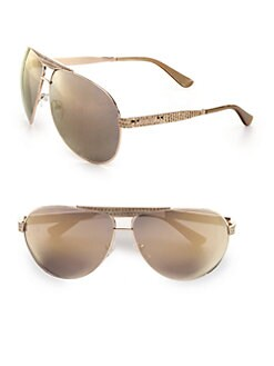Jimmy Choo - Snakeskin Embossed Metal Aviator Sunglasses
