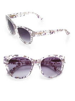 Heidi London - Oversized Round Floral Sunglasses