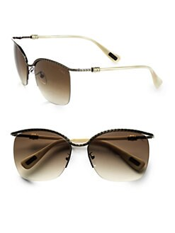 Lanvin - Swarovski Crystal Accented Semi-Rimless Round Sunglasses