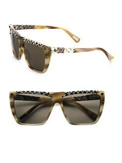 Lanvin - Snake-Print Leather Accented Modified Square Sunglasses
