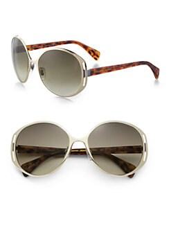 Alexander McQueen - Oversized Round Metal & Acetate Sunglasses
