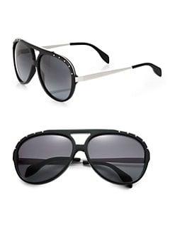 Alexander McQueen - Studded Acetate Aviator Sunglasses
