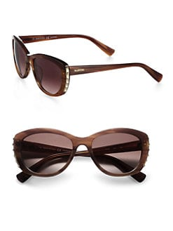 Valentino - Metal Studded Oval Sunglasses