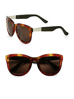The Row - Oversized Square Leather & Acetate Sunglasses