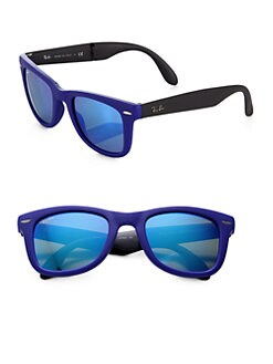 Ray-Ban - Folding Round Rubber Wayfarer Sunglasses