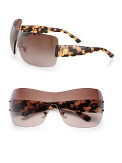 Versace - Rimless Wrap Shield Sunglasses