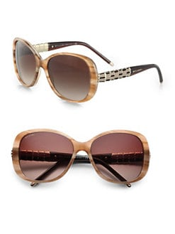 BVLGARI - Oval Glam Acetate Sunglasses