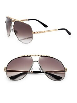 Jimmy Choo - Benny Studded Stainless Steel Aviator Sunglasses