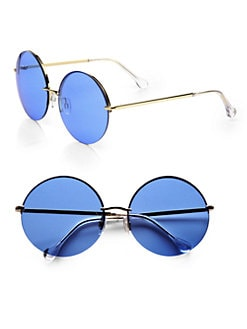 Elizabeth and James - Oversized Round Interchangeable Rimless Sunglasses
