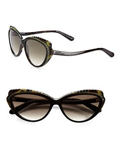 Alexander McQueen - Ridged Plastic Cat's-Eye Sunglasses