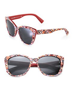 Dolce & Gabbana - Floral-Printed Modified Cat's-Eye Sunglasses