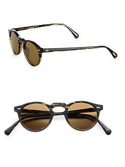 Oliver Peoples - Gregory Peck Oval Plastic Sunglasses/Dark Brown