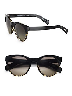 Oliver Peoples - Alivia Oval Polarized Plastic Sunglasses/Black & Dark Tortoise