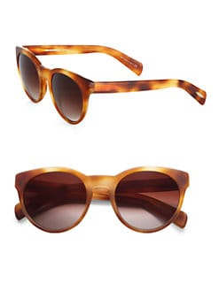 Oliver Peoples - Alivia Oval Plastic Sunglasses/Light Havana