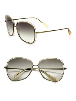 Oliver Peoples - Emely Plastic & Metal  Round Sunglasses/Light Beige