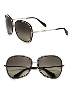 Oliver Peoples - Emely Polarized Plastic & Metal Oversized Round Sunglasses/Black