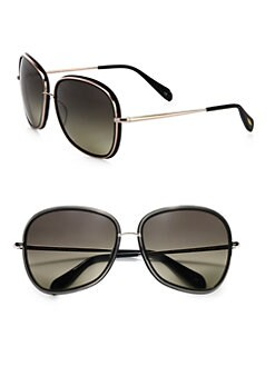 Oliver Peoples - Emely Polarized Plastic & Metal Round Sunglasses/Black