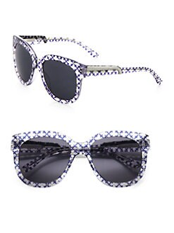 Stella McCartney - Printed Wayfarer-Inspired Round Plastic Sunglasses/Purple