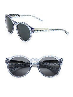 Stella McCartney - Printed Round Plastic Sunglasses/Blue