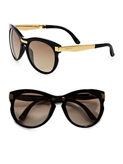 Jimmy Choo - Plastic & Metal Round Foldable Sunglasses