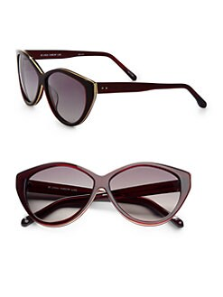 Linda Farrow Luxe - Metal Trimmed Plastic Cat's-Eye Sunglasses