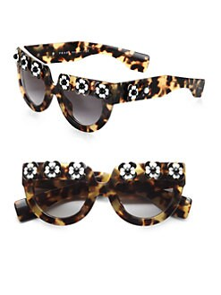 Prada - Flowered Cat's-Eye Sunglasses