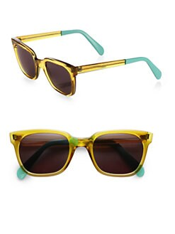 Sheriff & Cherry - Yellow Acetate Rectangular Wayfarer Sunglasses