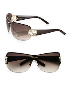 Gucci - Crystal GG Shield Sunglasses