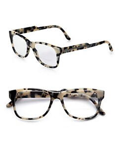 Stella McCartney - Oversized Square Acetate Reading Glasses/Grey Tortoise