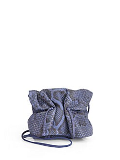 Carlos Falchi - Buffalo Mini Python Crossbody Bag/Denim Blue