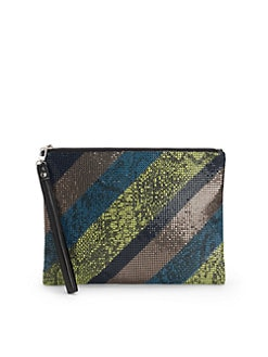 BCBGMAXAZRIA - Colorblock Mesh Clutch