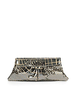 Lauren Merkin - Eve Mirror Croc-Print Clutch